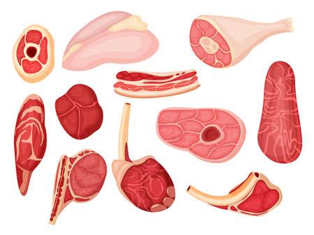 Cartoon raw meat isolated set on white background Vektoros illusztráció