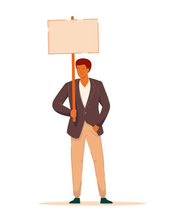 Businessman protester with blank placard on white
