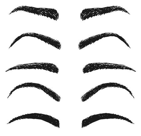 Fashion woman eyebrow sketch isolated set on white