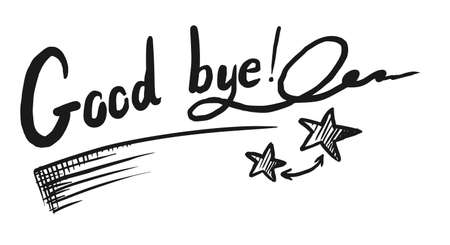 Hand drawn good bye lettering sketch on white