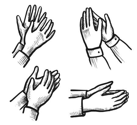 Hand drawn hand ovation sketch isolated icon set