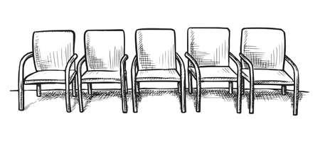 Waiting room or corridor interior design sketch