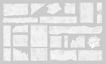 Blank ripped paper piece and stripe icon set