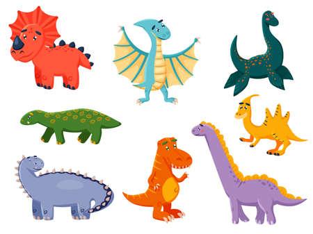funny dinosaur cartoon character icon set
