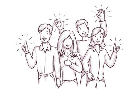 Happy smiling people gesturing thumbs-up sketch