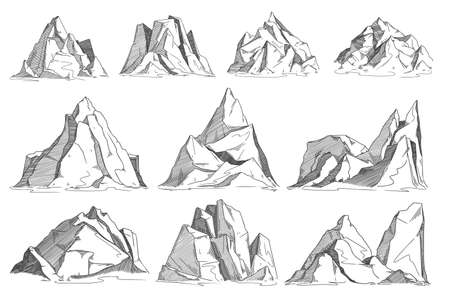 Mountain sketch set isolated on white background