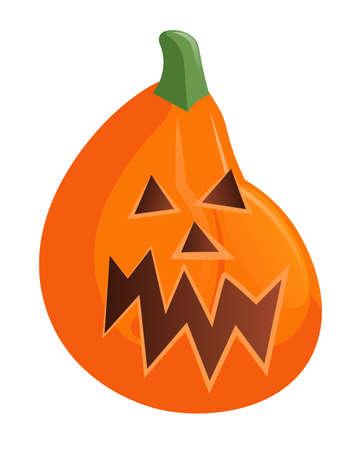 Vector orange halloween pumpkin isolated on white