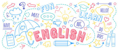English language learning concept vector