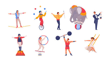 Cartoon characters of isolated people performing circus and acrobatic tricks