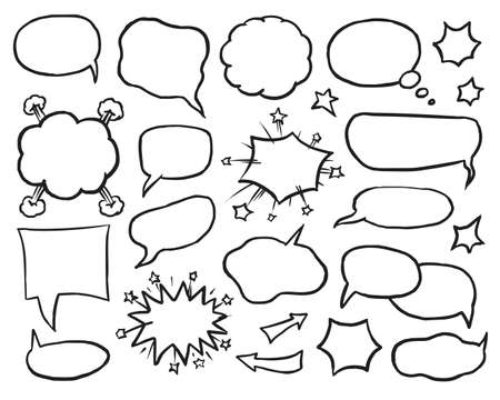 Blank speech, idea and thought comic bubble set