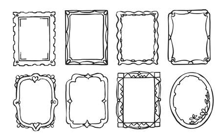 Retro hand drawn ornate picture frame isolated set Vecteurs