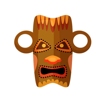 Ancient Africa pagan idol mask isolated on white 일러스트