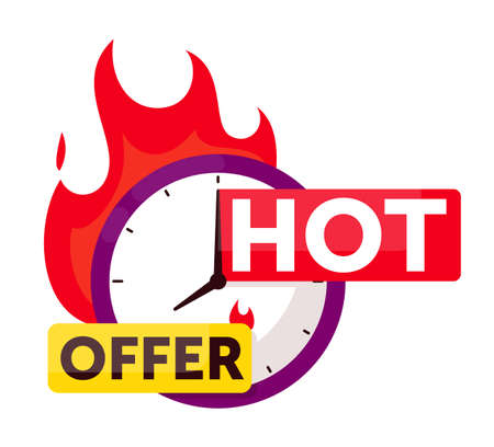Hot offer sale timer countdown badge on white