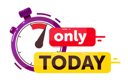 Only today sale promotion countdown badge on white