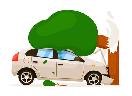 Car hit tree due to speed drive isolated illustration Vecteurs