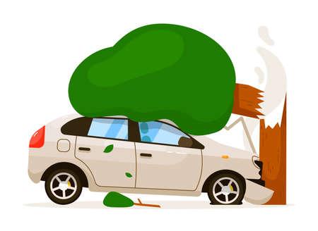 Car hit tree due to speed drive isolated illustration Ilustração Vetorial