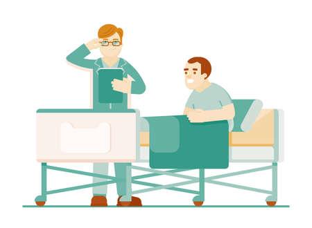 Hospitalized patient doctor treatment in clinic Illusztráció