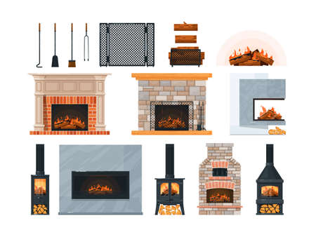 Fireplace, firewood and accessory isolated on white Illustration