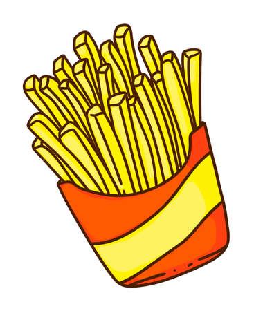 Cartoon potato french fries in box isolated on white 免版税图像 - 157927085