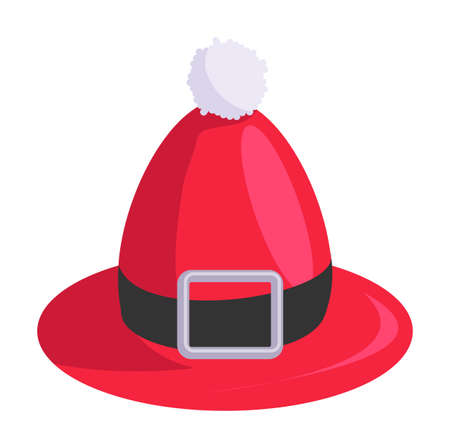 Red elf hat with fur ball and belt isolated on white 向量圖像
