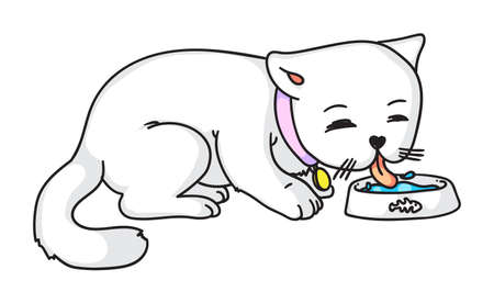 Vector cat eating drinking milk isolated on white 向量圖像