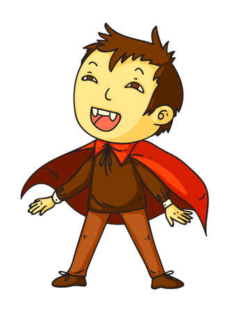 Kid in dracula costume for happy halloween party Vettoriali