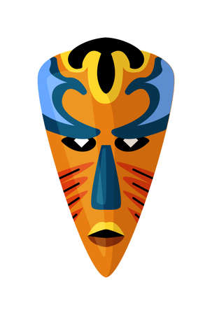Coloured african ethnic tribal mask on white space Vettoriali