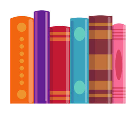 Book vertical row isolated on white background