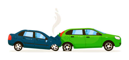 Two car rear end collision on white road background
