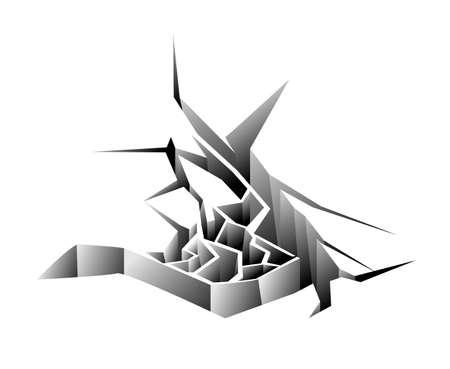Ground or ice hole crack isolated on white background Ilustração
