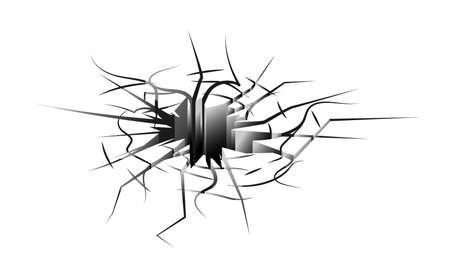 Ground hole with crack isolated on white background