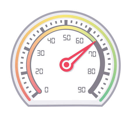 Speedometer showing normal speed with needle in red Stock Illustratie