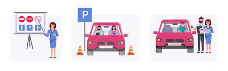 Man woman getting car driving license at auto school set. Instructor teaching road sign, driver character at training lesson, student passing exam successfully vector illustration on white background