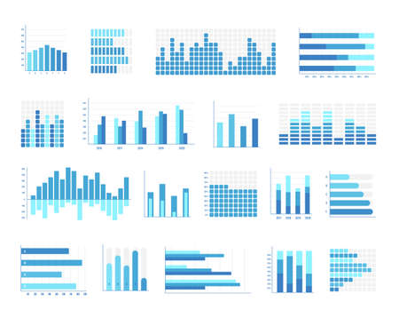 Histogram business chart. Different type of stock diagram and statistic bar in classic, stacked, standardized, horizontal and vertical, sectional shape vector illustration isolated on white background Ilustração