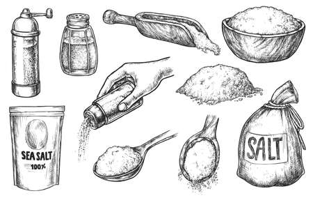 Kitchen salt baking or cooking spice ingredient sketch set. Handdrawn salting hand and crystal in heap, glass bottle, wooden spoon, sack, package, bowl vector illustration isolated on white background