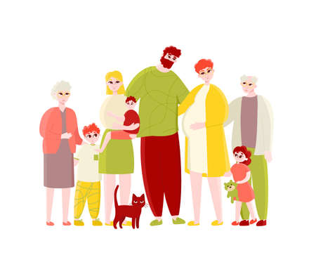Big happy multi-generational family portrait. Young parent couple with pregnant wife, adult daughter with baby, children, senior grandparent and cat vector illustration isolated on white background 矢量图像