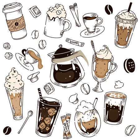 Different coffee kind hand drawing chalkboard layout. Hot espresso, americano, iced, irish, latte, cappuccino, frappe, bean, sugar stick, cinnamon in glass or takeaway cup vector illustration on white
