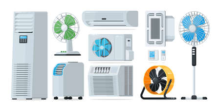Air conditioner heating and cooling household appliance set. Floor, wall-mounted, home and industrial fan, conditioner, thermostat for climate control vector illustration isolated on white background