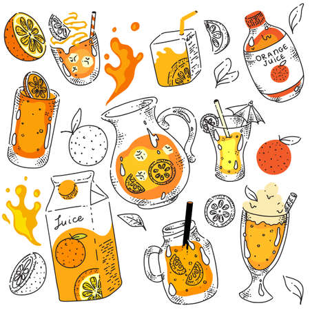 Jug, cardboard packet package and glass of tasty orange juice, liquid vitamin cocktail hand drawing doodle sketch. Healthy summer refreshment assortment vector illustration on white background