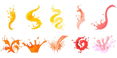 Colourful row with spiral, pouring, falling, flowing spattering splash and squirt. Splattered pure juice, lemonade, cocktail shake or jam vector illustration isolated set on white background