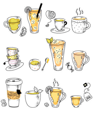 Classic green or black, fruity cold and organic herbal or mint tea in different glassware and pack. Hand drawing hot drink assortment in row doodle vector illustration isolated on white background
