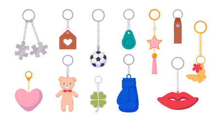Trinket metal keychain with silver ring for key and breloque. Key holder with pendant souvenir product different shape, design and form for gift vector illustration isolated on white background Vetores
