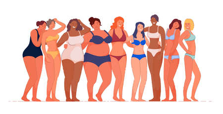Diverse multiracial woman embracing natural body. Happy attractive slim, overweight girl group in feminine body positive and beauty diversity movement vector illustration isolated on white background 向量圖像