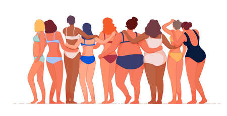 Woman with different figure, skin color posing in underwear. Curvy and skinny kind of female accept love your body, girl power and strength concept vector illustration isolated on white background