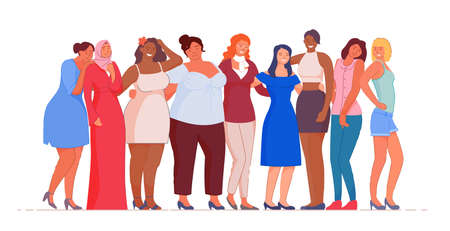 Woman of different nationality and culture standing together. Female friendship, feminist union, sisterhood or social diversity, ethnicity equality, feminine empowerment movement vector illustration