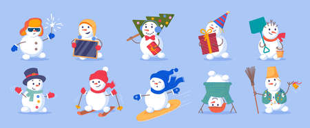 Funny snowman with holiday accessory christmas set. Cute emotional winter character enjoy different outdoor activity and party entertainment vector illustration isolated on white background