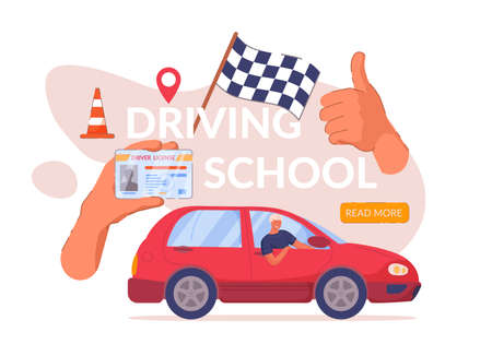 Driving school web banner advertisement design. Car driver class website landing page with certified graduate student hand showing license and thumbs up giving positive feedback vector illustration