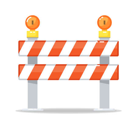Road barrier barricade and warning light lamp isolated Vector Illustratie