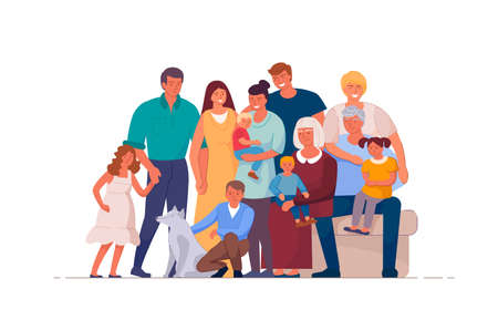 Portrait of big happy family of many people and different generations illustration. Cartoon family characters such as son, father, newborn, grandparents on white background.