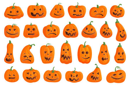 Halloween pumpkin icon. Creepy halloween pumpkin icon isolated set. Spooky gourd with different jack-o-lantern face emotion collection on white. holiday party decorative vegetable illustration